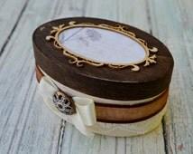 Rustic Wedding Ring Box, Rustic Lace Ring Box, Shabby Chic Wedding Ring Box, Ring Bearer, Wedding Ring Box, Ivory lace gift box