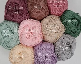 Mercerised Cotton Yarn - 10 Icecream Colours - 50g balls plus 3mm hook - Crochet/Knitting/Amigurumi