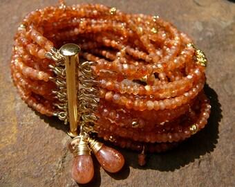 Sunstone Bracelet, Sunstone Jewelry, Sunstone, Multi Strand Bracelet, Multistrand Bracelet, Gold Vermeil Beads, Vermeil Beads, Gold Vermeil