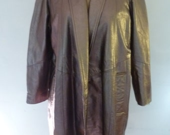 80's Leather Coat Bronze Leather Shawl Collar Boho Swing Style Made for Neiman Marcus Size XS Made in USA