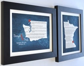 Set Of Two Wedding Anniversary Gift Idea: Wedding Vow Map Prints Personalized Gifts For Husband Wife Couple Unique Present For Spouse Custom