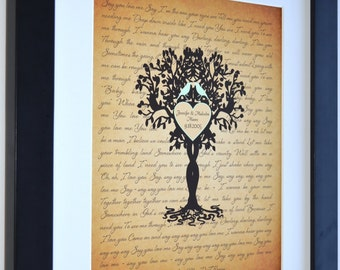 Unique housewarming gift personalized family tree love birds song lyrics art print, new home housewarming gift bridal shower present decor
