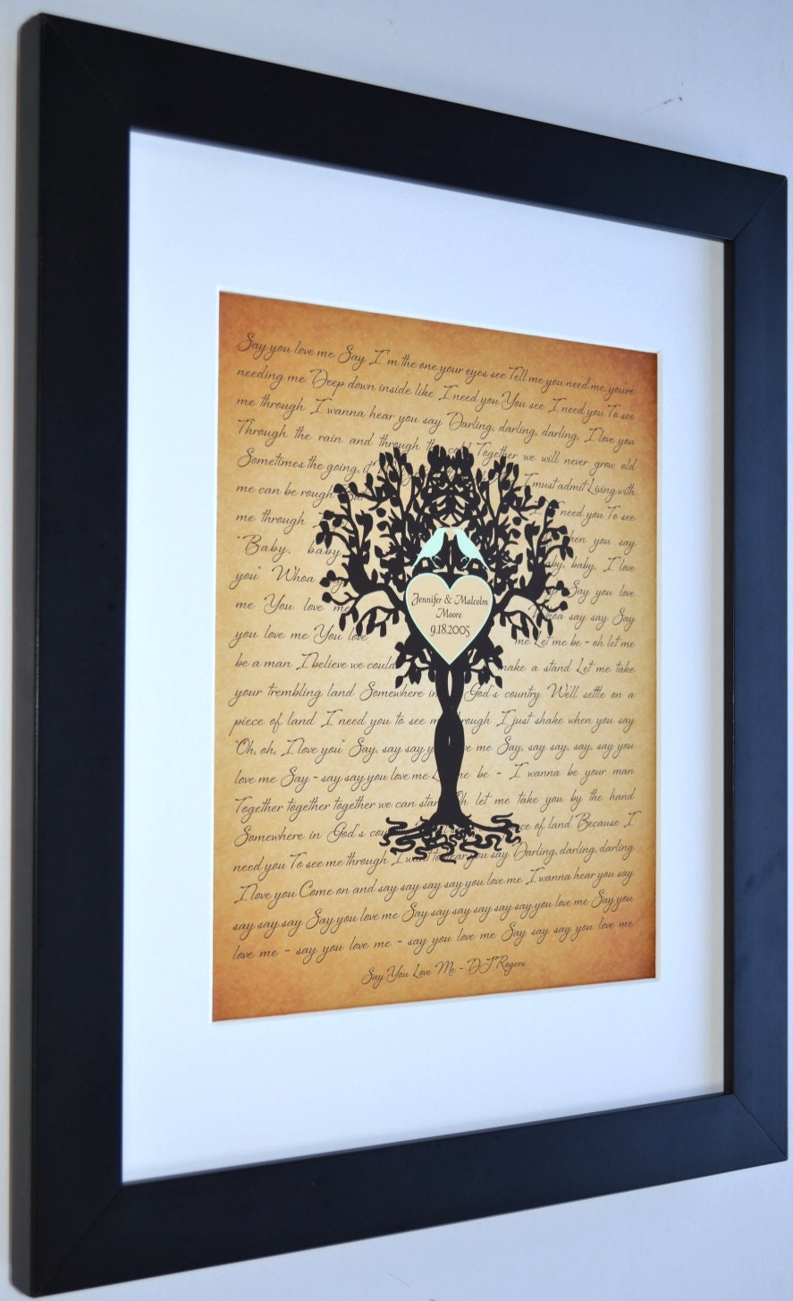 Unique Housewarming Gift Personalized Family Tree Love Birds