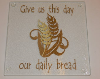 Give us This Day Our Daily Bread Cutting Board/Cheeseball Plate