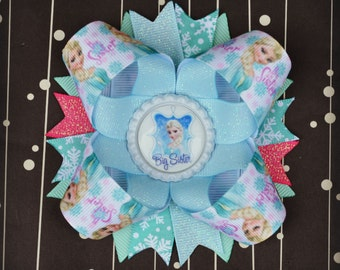 Frozen Big Sister Elsa inspired stacked layered hair bow