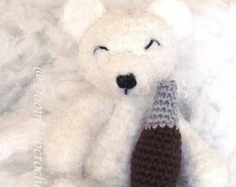 Polar teddy bear and his cola bottle amigurumi