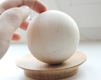 75 mm big wooden bead (wooden ball) WITHOUT hole - natural eco friendly - birch tree