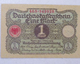 1920 Germany 1 Mark BankNote, Vintage German Banknote, UNC