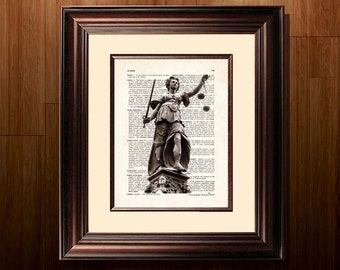 "Fine Art Print - ""Justice, Justitia "" - 8.5""x11"", Attorney print, Lawyer Gift, Scales of Justice print, Pass the Bar gift, Lady Justice"