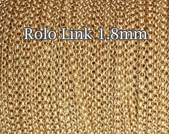 10FT(3mt) Gold Filled chain rolo link 1.8mm , gold chain rolo sold by foot by meter , gold fill chain Rolo Belcher , supply jewelry chain