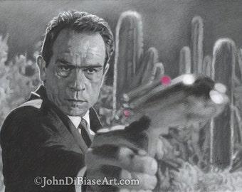 """Drawing Print of Tommy Lee Jones as Agent K in """"Men In Black"""""""