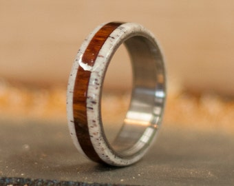 Mens Titanium Ring with Ironwood and Antler Band - Staghead Designs