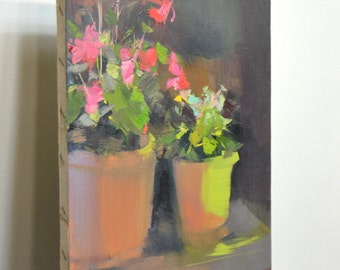 Colorful still life painting of flowers, pink canvas art,  Floral painting , oil painting flowers
