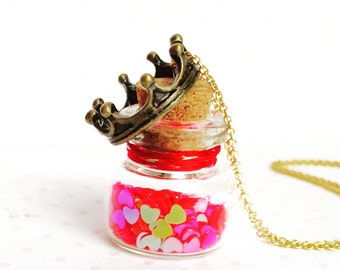 Apothecary jar necklace- vial necklace- bottle necklace- romantic necklace- bottle with hearts- gift for her
