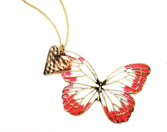 Butterfly necklace-nature inspired jewelry- nature lover gift- gift for her- butterfly jewelry
