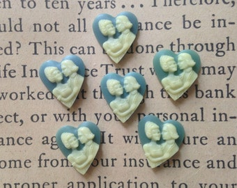 Vintage Heart Cameos - Wedgewood Blue - Plastic Cabochons, Cabs, Flat Backs - Love, Couple, Wedding - Qty 6