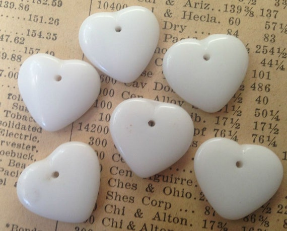 Vintage Glass Heart Beads - Flat, White - Charms, Drop Beads, Pendants - Valentine's Day - Qty 6