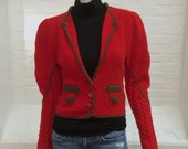 vintage red wool cardigan sweater // women's small or extra small
