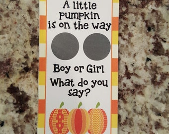 20 Halloween Pumpkin Gender Reveal Scratch Off Card Tickets