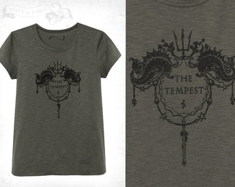 Shakespeare's The Tempest  T-shirt~ dark grey / olive green textured cotton