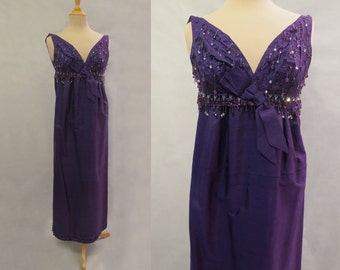 Purple Beaded Evening Gown - 1960s