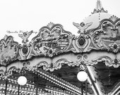 Paris Carousel - Black and White Photography - Paris Print - Wanderlust Photography - Wall Decor - Christmas Gift for Her -