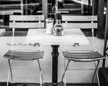 Paris Cafè Chairs - Streets of Paris -  Black and White Print - Paris Wanderlust Photography - France Wall Decor - Gift Idea for Him and Her