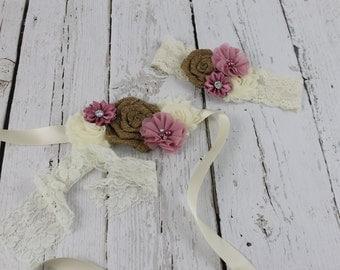 Mauve Burlap Sash & Mauve Burlap Headband Flower Girl Accessories Rustic Burlap Flower Headband JR Bridesmaid Dress Country Wedding Burlap