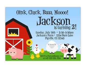 Farm Invitation - Red Barn, Farm Animals, Pig, Chicken, Sheep, Cow, Kids Farm Personalized Birthday Party Invite - a Digital Printable File