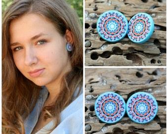 Large Stud Earrings, Light Aqua, Allergy Free Ear Posts, Wood Discs, Whimsical Gift for Her, Cute Girl Studs, Mandala Earrings, Unique Posts
