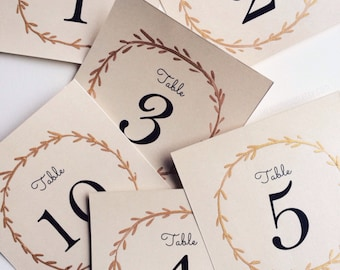 Gold Wreath Table Numbers, Calligraphy