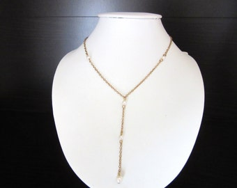 Cultured Pearl Y Necklace Gold Filled Size Small 14 -18 Inches