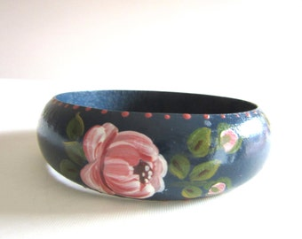 Hand Painted Wood Bangle Pink Roses