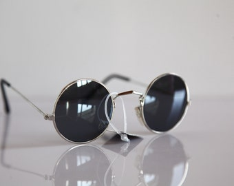 Vintage  Chrome Frame, Dark Gray Mirrored Round lenses. OPTICON'S. Made in Greece