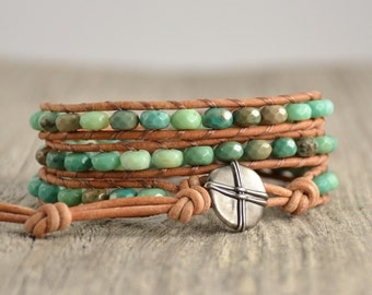 Green beaded triple wrap bracelet. Boho chic natural jewelry