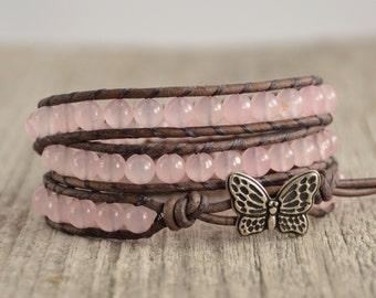 Pink and grey girly jewelry. Triple wrap bracelet, butterfly charm