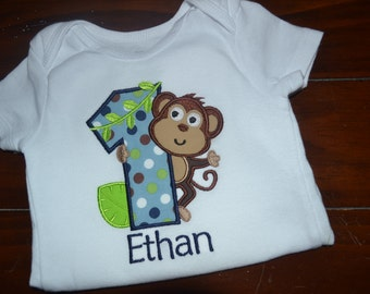 Personalized Monkey First Birthday Bodysuit or Shirt
