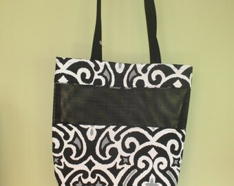 Black and white vinyl shopping tote, shopping tote, black and white grocery tote, sturdy grocery tote, grocery bag, retro shopping tote