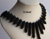 Black Seed Bead Bib Necklace, Statement Beadwork Necklace, CRAW, Elegant Women's Jewelry, Beadwoven Jewelry, Wearable Art, Unique Gift, OOAK