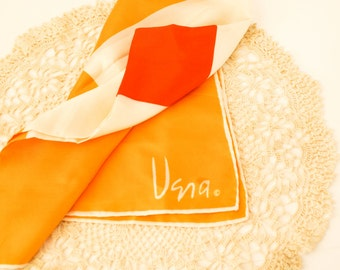 Vintage 1970s Mod Vera Neumann Orange & Ivory Silk Scarf