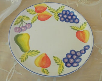 Orchard Jubilee Dinner Plate, Made By The Artist's Touch, Vintage Item, Peaches, Pears and Grapes, Made in China
