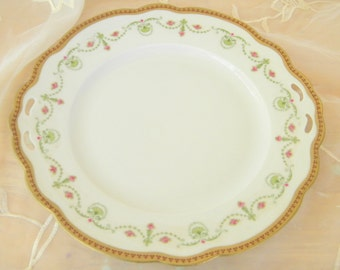 Reticulated MZ Austria China Plate, Pattern of Gilded Edging, Green Swags and Fans with Pink Roses, Antique Item,