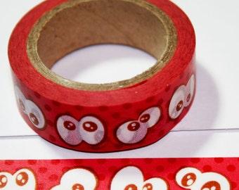 Red Google Eyes Washi Tape