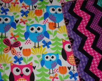 Girly Owl Flowered/Chevron  Double-sided Flannel Baby/Todddler Blanket