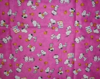 Pink Snoopy/Woodstock Cotton Fabric by the Half Yard