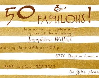 Fabulous 50 Birthday Party Invitation