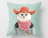Rodeo Cat Throw Pillow, Decorative Pillow, Animal Pillow, Cat Pillow, Animal Cushion, Cushion Cover, Kids Room Decor