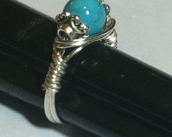 Ring Turquoise Blue 8mm glass bead Artistic Wire wrapped ring made to your size specificationd, FREE SHIPPING in US only