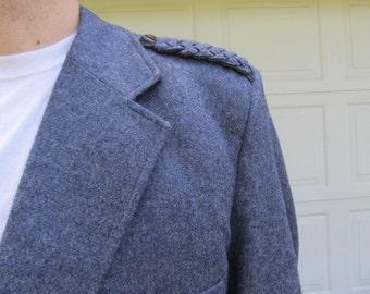 Vintage Shetland wool blue men's wool coat, XXXL, 56 x 53