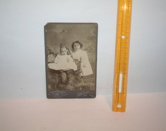 "Free Shipping!!   Vintage Victorian 1899 Arless ""Extra Finish""  Montreal, Canada Black White Photo!  Children on Bearskin Rug!"